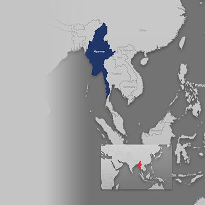 Myanmar on world map