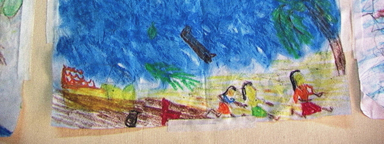 a child's drawing of tsunami destruction