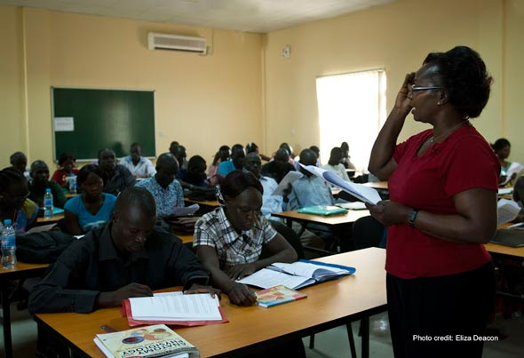 Students Being Taught Fundamentals by Tutor Judith Apondoa