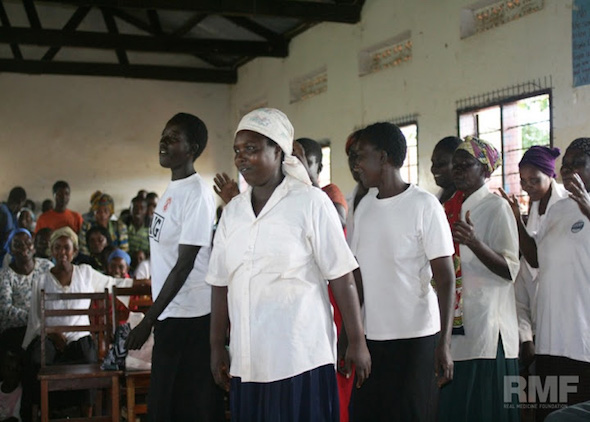 women singing in reception