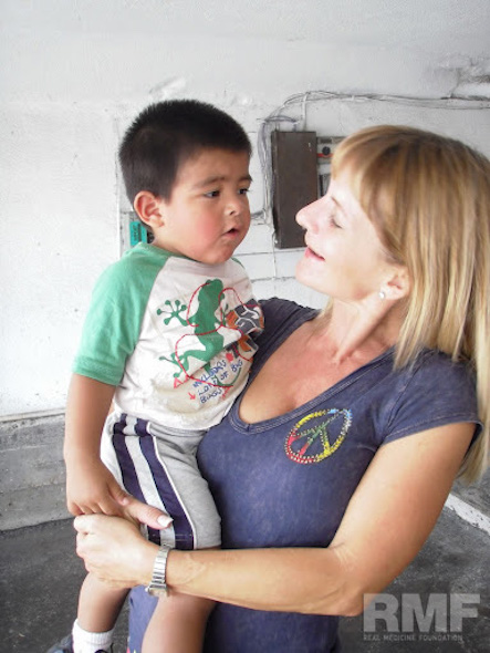 child talking to woman