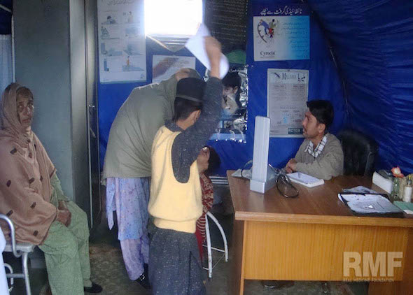 family receiving medical care