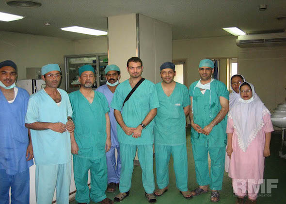 surgical team posing for a photo