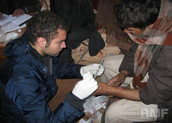 man receiving medical treatment