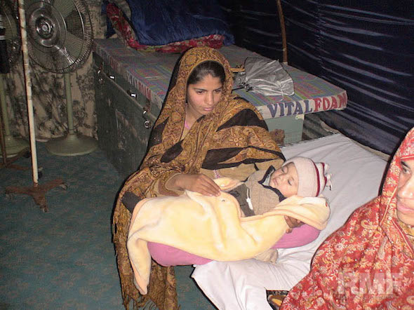 mother and sleeping child