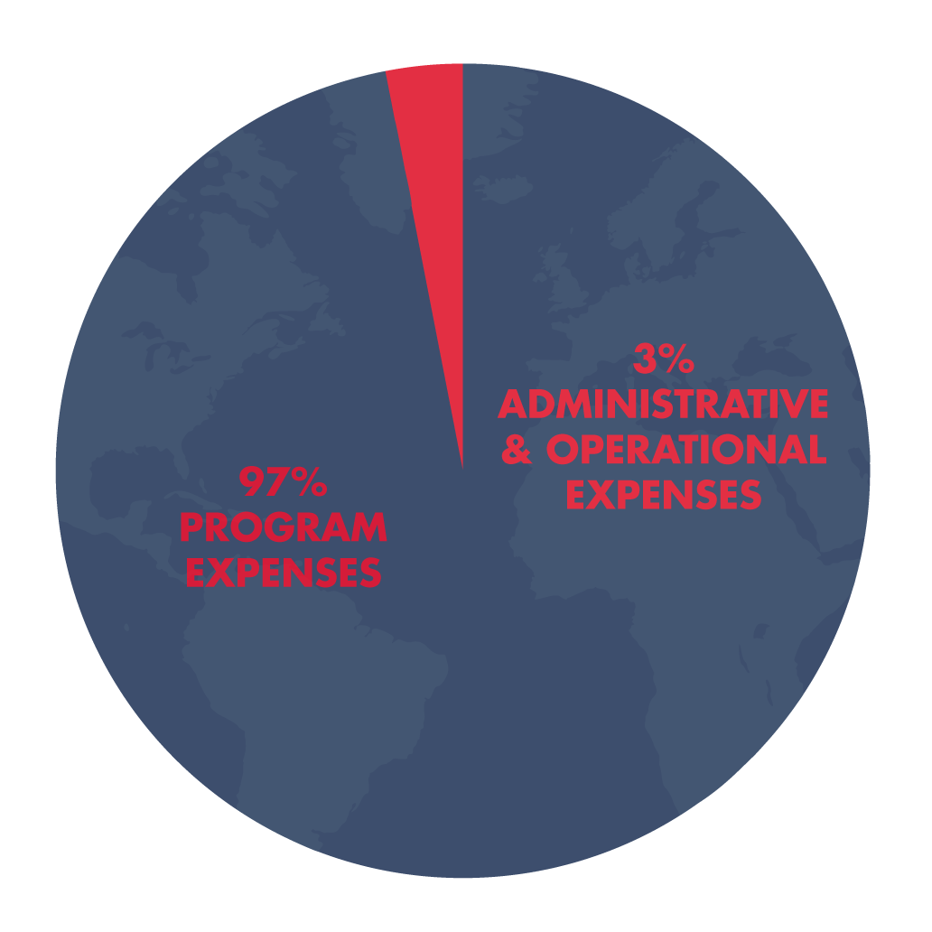 administrative costs world pie chart graphic