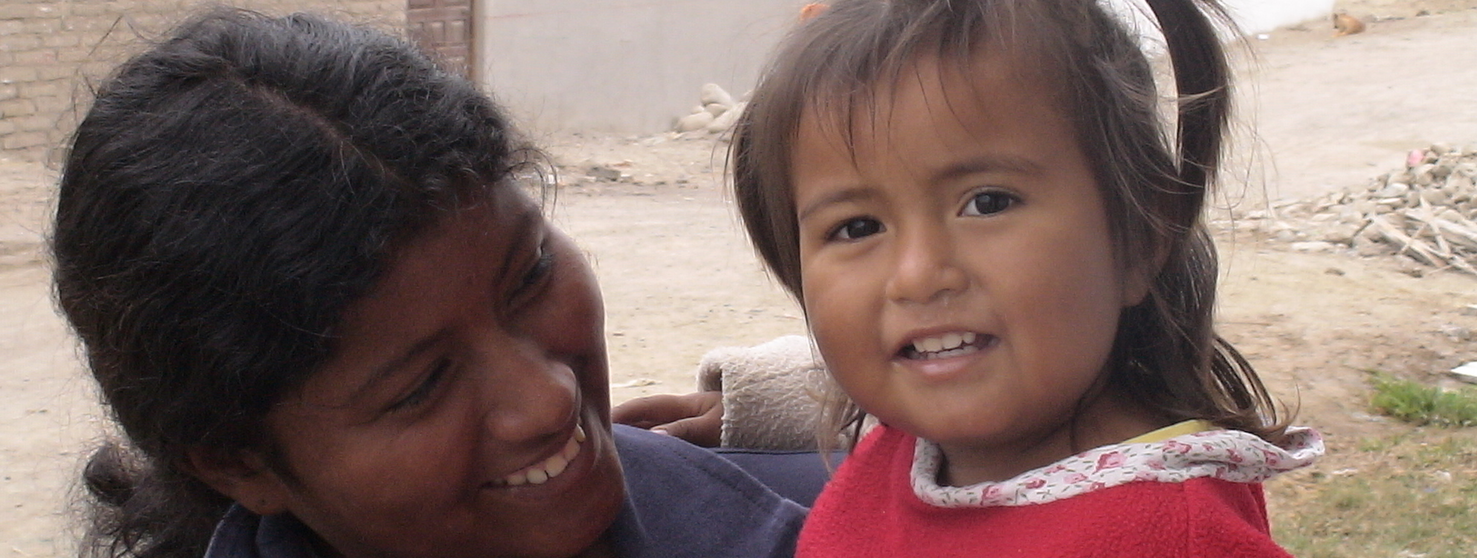 young peruvian girl with mother