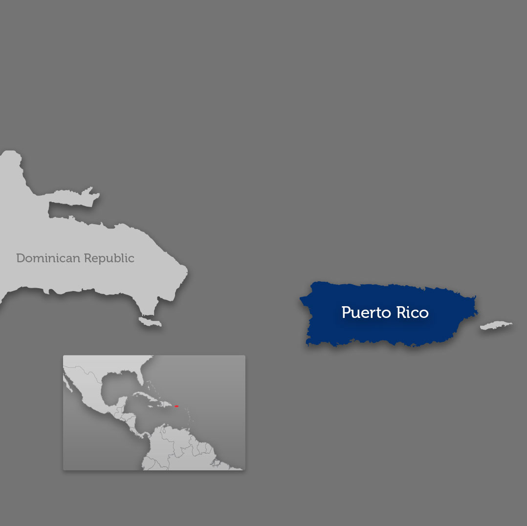 Puerto Rico on world map